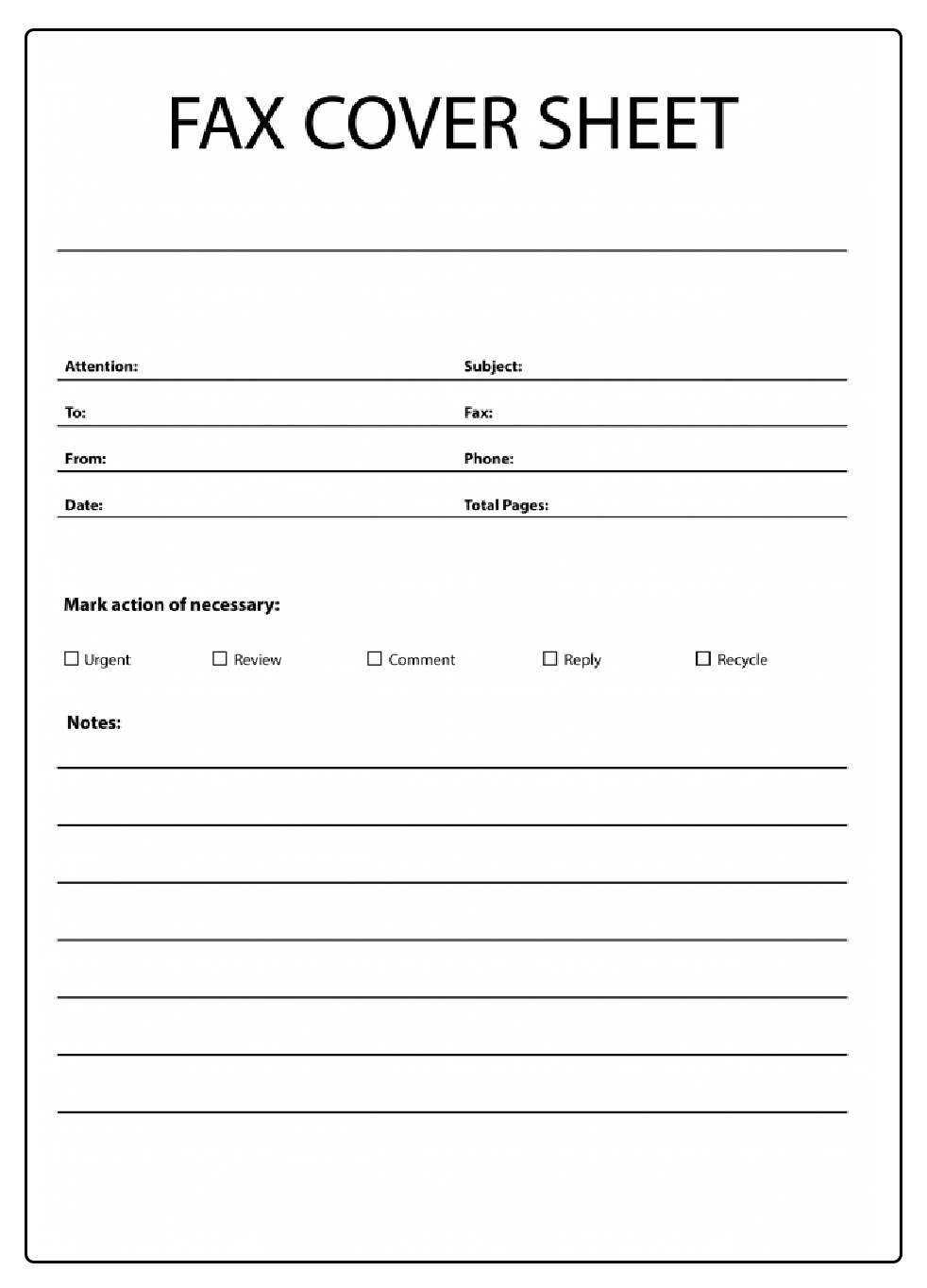 Basic Fax Cover Sheet PDF