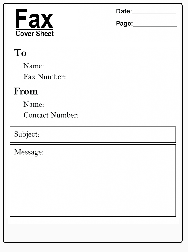 Basic Fax Cover Sheet Template