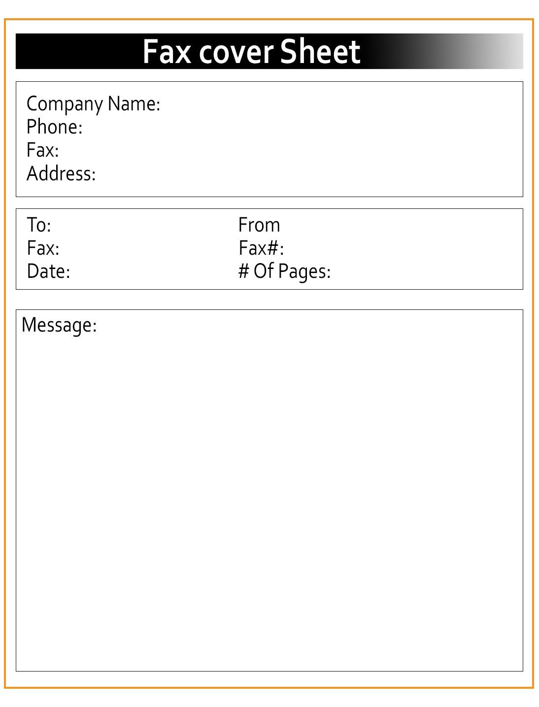Generic Fax Cover Sheet