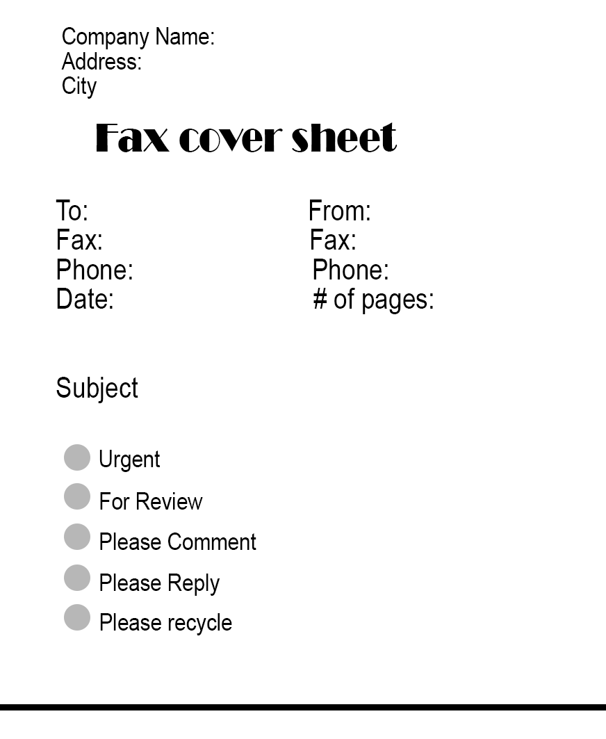 Standard Fax Cover Sheet PDF